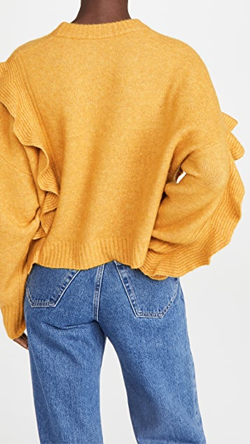 3.1 Phillip Lim Long Sleeve Lofty Cropped Ruffle Pullover