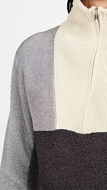 3.1 Phillip Lim Double Face Metallic Pullover With Front Zip