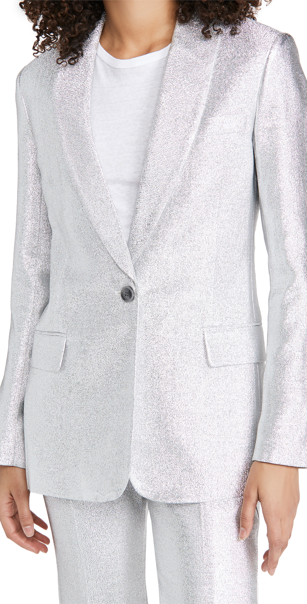 3.1 Phillip Lim Metallic Lame Shawl Lapel Blazer