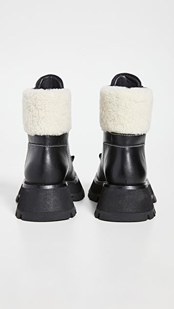3.1 Phillip Lim Kate 沟纹鞋底双拉链连毛羊皮靴子