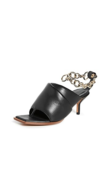3.1 Phillip Lim Georgia 60mm Padded Mules W Ankle Chain