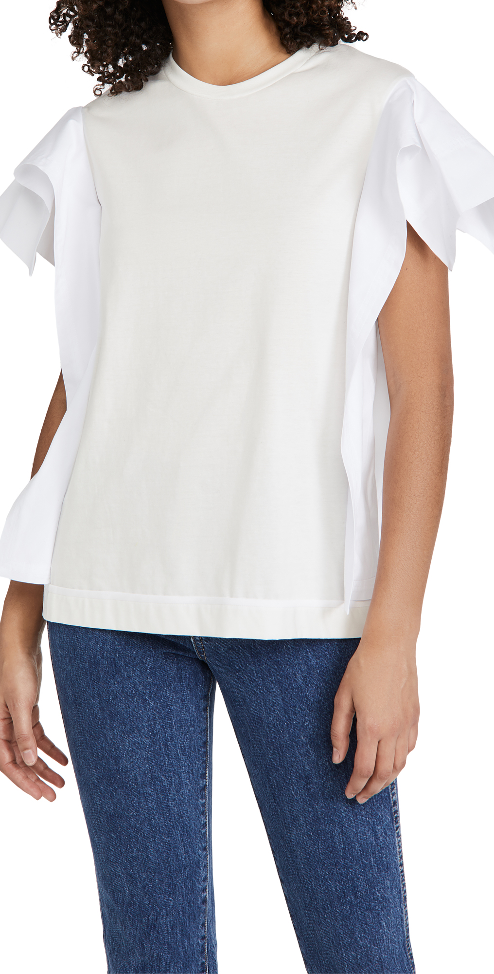 3.1 Phillip Lim Combo T-Shirt with Ruffle Sleeves