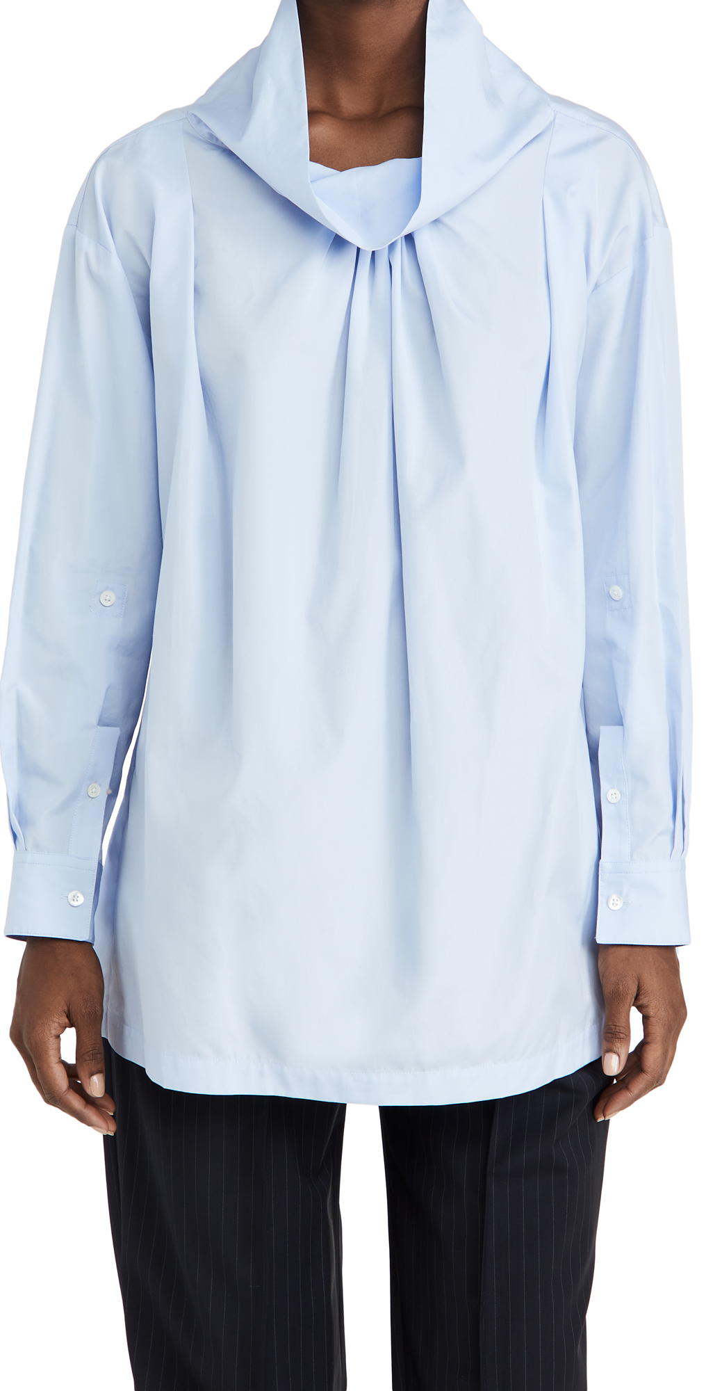 3.1 Phillip Lim Poplin Oversized Drape Collar Shirt