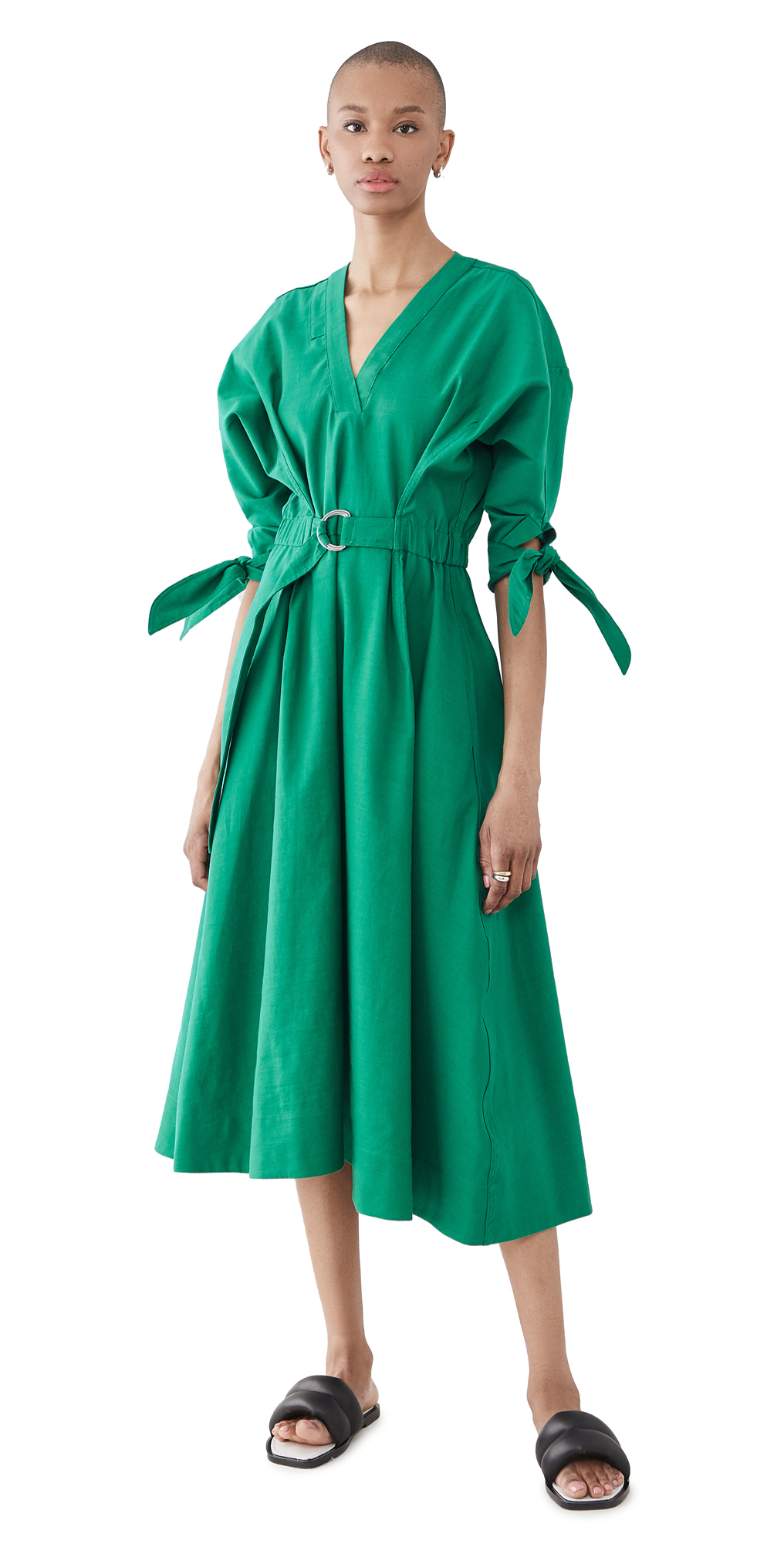 3.1 Phillip Lim Tie-detailed Belted Cotton-blend Midi Dress In Green