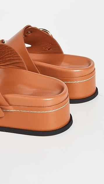 3.1 Phillip Lim Freida 厚底双搭扣凉拖鞋