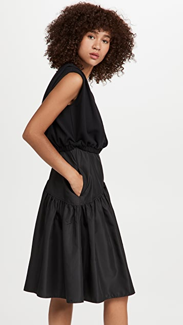 3.1 Phillip Lim 塔夫绸裙身法式毛圈布拼接连衣裙