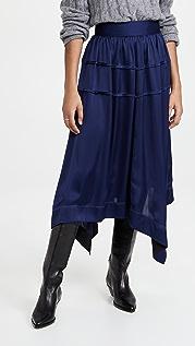 3.1 Phillip Lim Pin Tucked Asymmetrical Scarf Hem Skirt