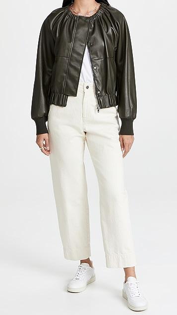 3.1 Phillip Lim Utility Vegan Leather Ruched Collar Jacket