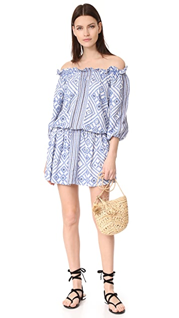 Pia Pauro All Over Embroidery Off Shoulder Dress