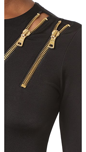 Pierre Balmain Zipper Detail Gown