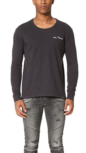 Pierre Balmain Long Sleeve Embroidered Tee