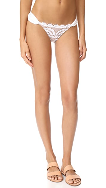 PilyQ Lace Fanned Full Bikini Bottoms - Water Lily