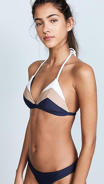PilyQ Color Block Triangle Bikini Top