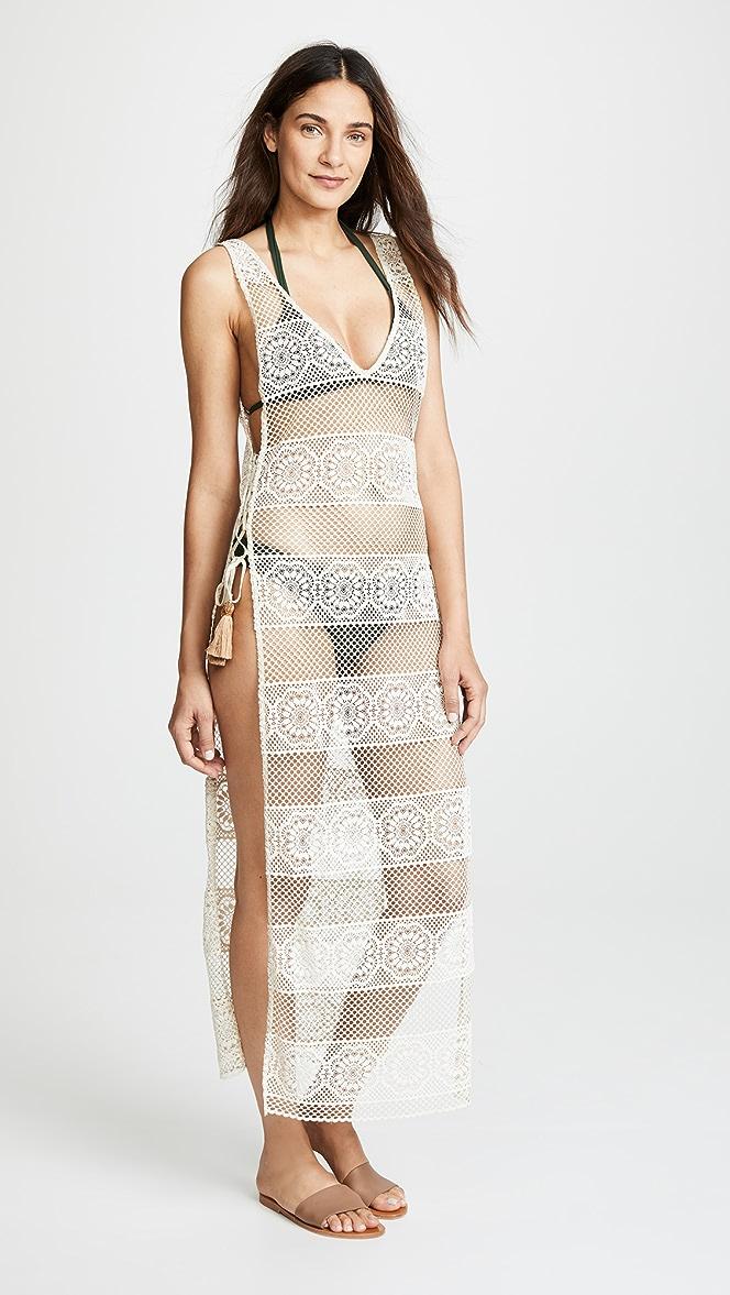 PilyQ Womens Beige Long Lace Joy Cover Up Swimsuit