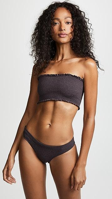 PilyQ Coco Smocked Bandeau Bikini Top