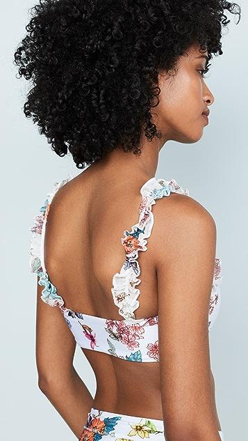 PilyQ Wild Flower Ruffle V Bikini Top