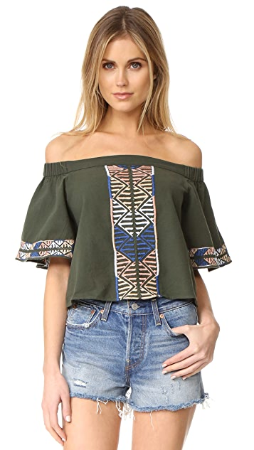 Piper Embroidered Off Shoulder Top