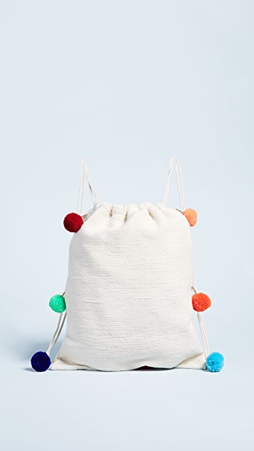 Pitusa Pom Pom Drawstring Backpack