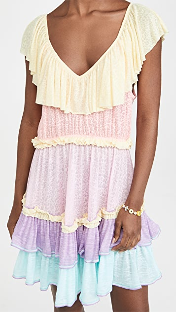 Pitusa Rainbow Ruffle Mini Dress