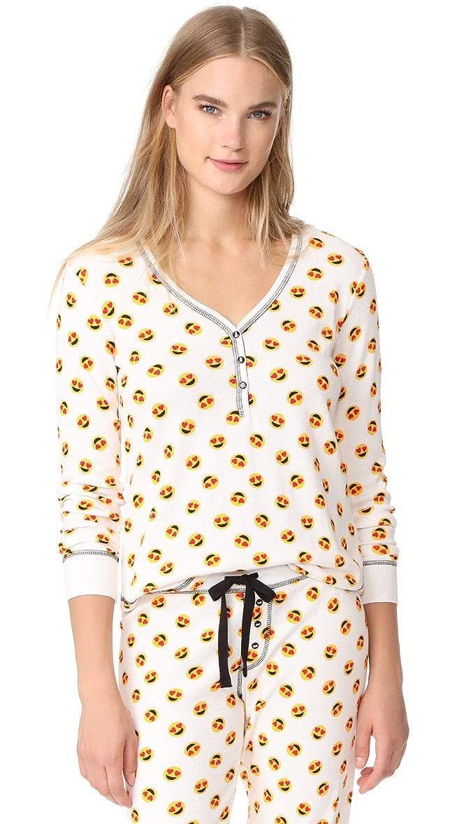 Black Yellow  Emoji 'Current Mood ' Long Sleeve top and Pant Pyjamas.