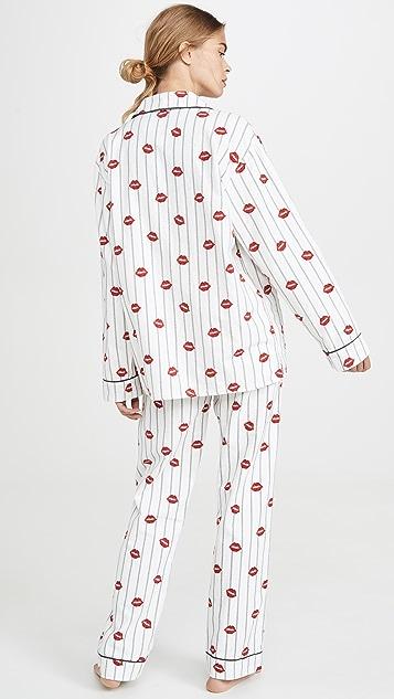 PJ Salvage Фланелевая пижама Kiss Me Goodnight