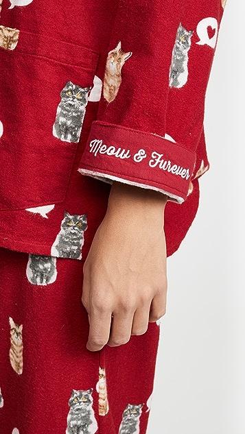 PJ Salvage Meow & Furever Flannel PJ Set