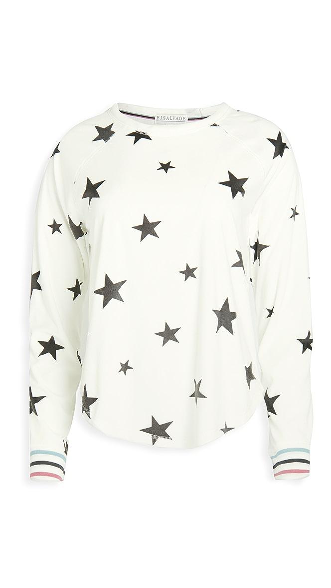 PJ Salvage Womens Loungewear Wishin on a Star Long Sleeve Top