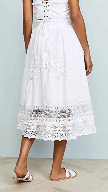 Place Nationale Lace Midi Skirt