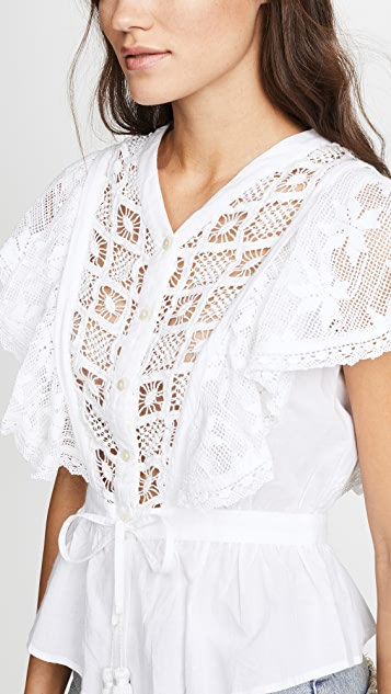 Place Nationale Saint Pierre Peplum Waist Blouse