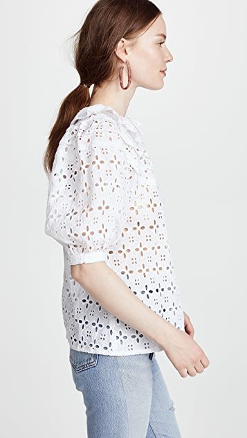 Place Nationale Carros Broderie Anglaise Tiered Blouse