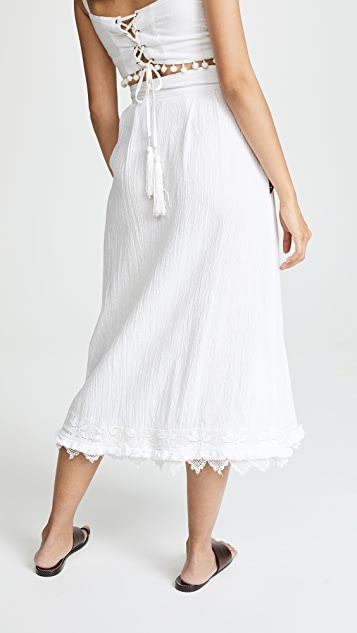 Place Nationale Le Chateau Embroidered Midi Skirt