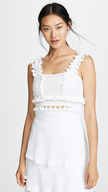 Place Nationale Massilla Crop Top with Swiss Dot Lace