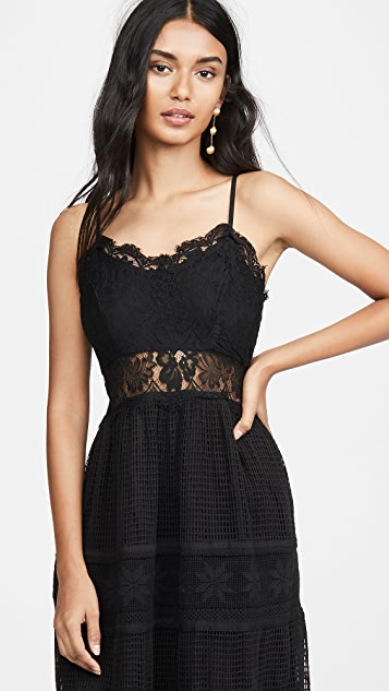 Place Nationale La Marne Grid Lace Maxi Sun Dress