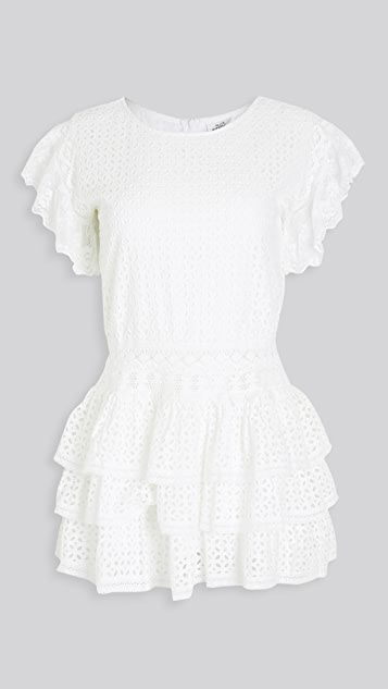 Place Nationale Le Broc Eyelet Tiered Mini Dress