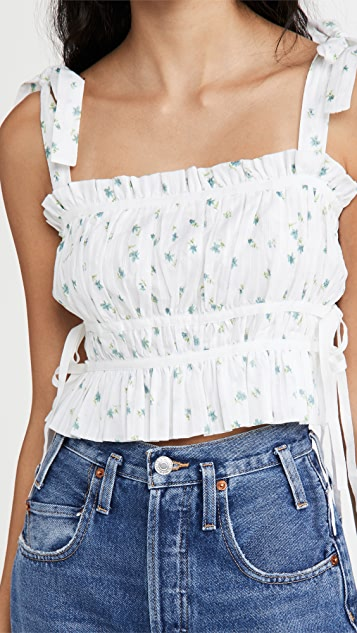 Playa Lucila Pleated Floral Top