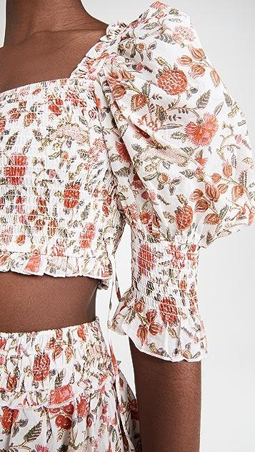 Playa Lucila 泡泡袖花卉上衣