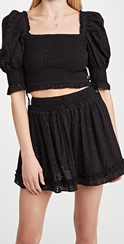 Playa Lucila - Eyelet Smocked Puff Sleeve Top