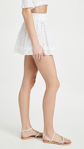 Playa Lucila Eyelet Smocked Skirt