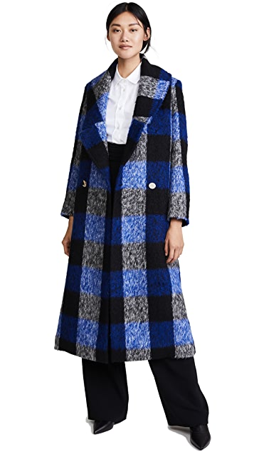 PAPER London Rainbow Check Wool Coat