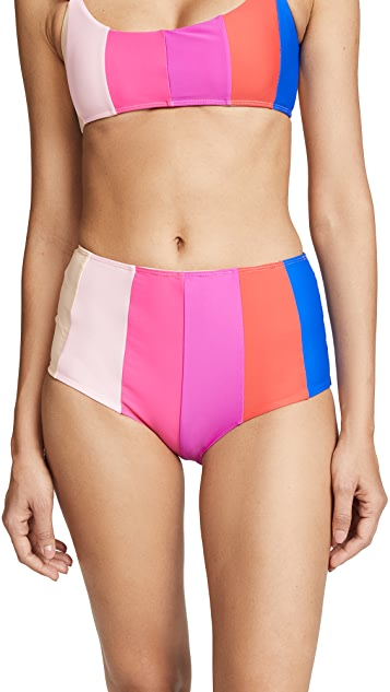 PAPER London Rainbow Stripe Bikini Bottoms