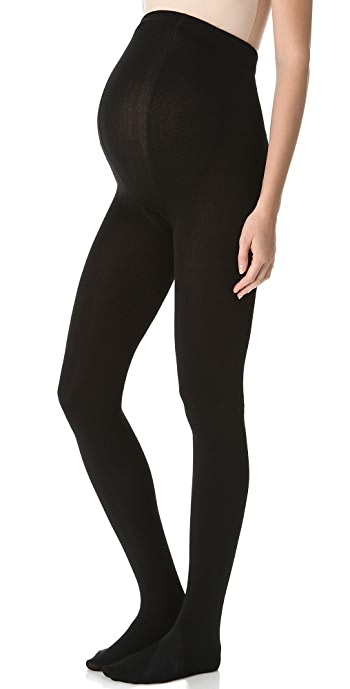 Plush Maternity Fleece Lined Tights - Black