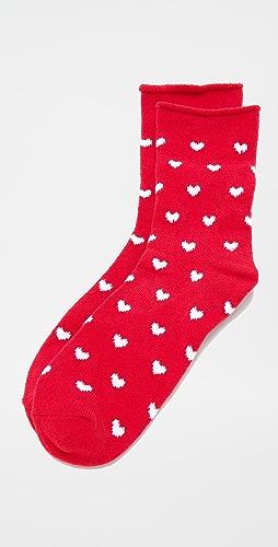 Plush - Heart Rolled Fleece Socks
