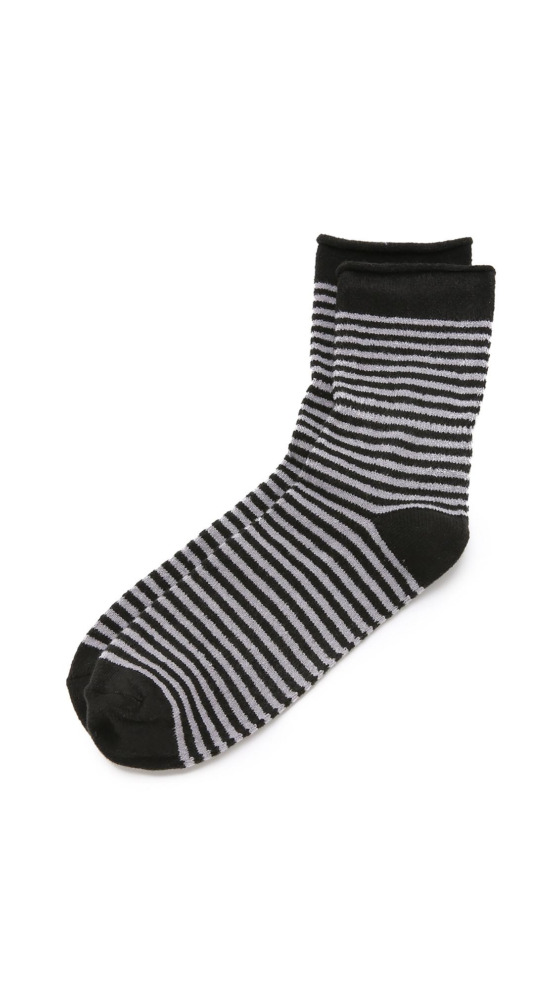 Plush Stripe Rolled Fleece Socks