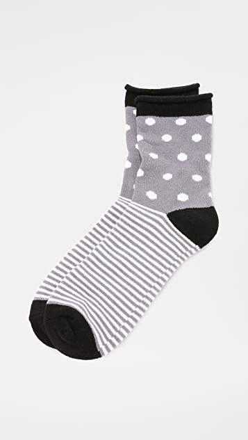Plush Dot Stripe Rolled Fleece Socks - Charcoal