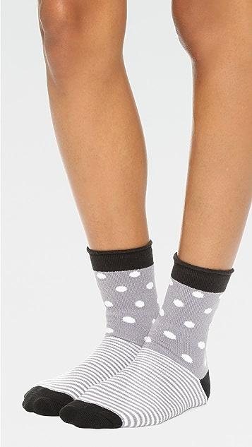 毛绒 圆点条纹卷边绒布袜子
