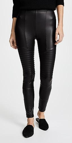 Plush - 绒布衬里光滑机车贴腿裤