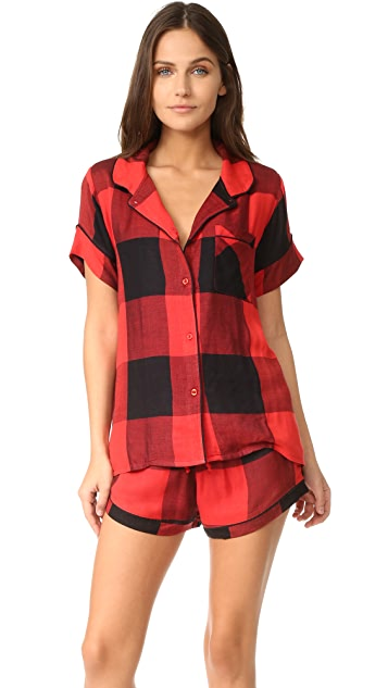 704a417177 Plush Ultra Soft Short Sleeve Buffalo Plaid PJ Set