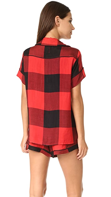 Plush Ultra Soft Short Sleeve Buffalo Plaid PJ Set