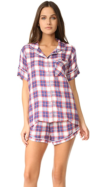 038990e7b2 Plush Ultra Soft Short Sleeve Plaid PJ Set ...