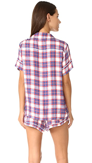 Plush Ultra Soft Short Sleeve Plaid PJ Set
